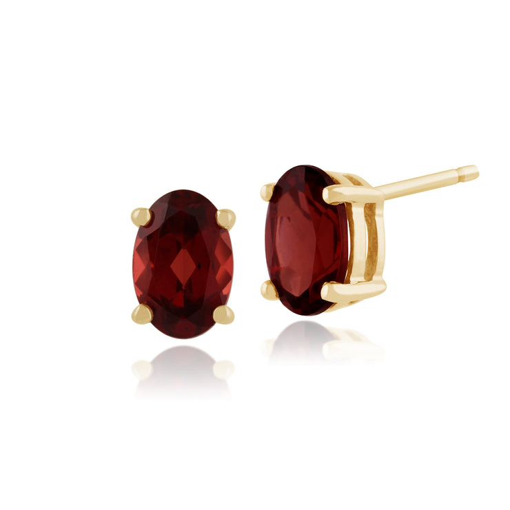 Classic Oval Garnet Stud Earrings & Pendant Set Image 2
