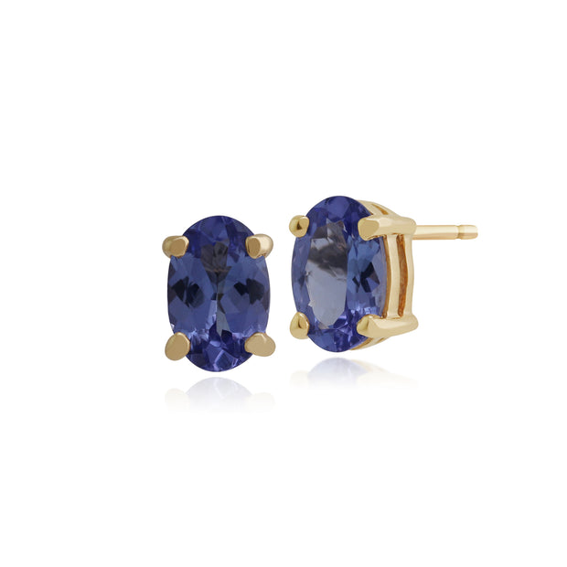 Classic Oval Tanzanite Claw Set Stud Earring in 9ct Yellow Gold