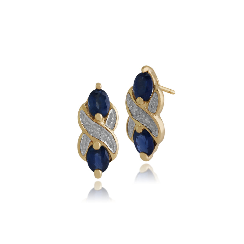 Classic Oval Light Blue Sapphire & Diamond Drop Earrings in 9ct Yellow Gold