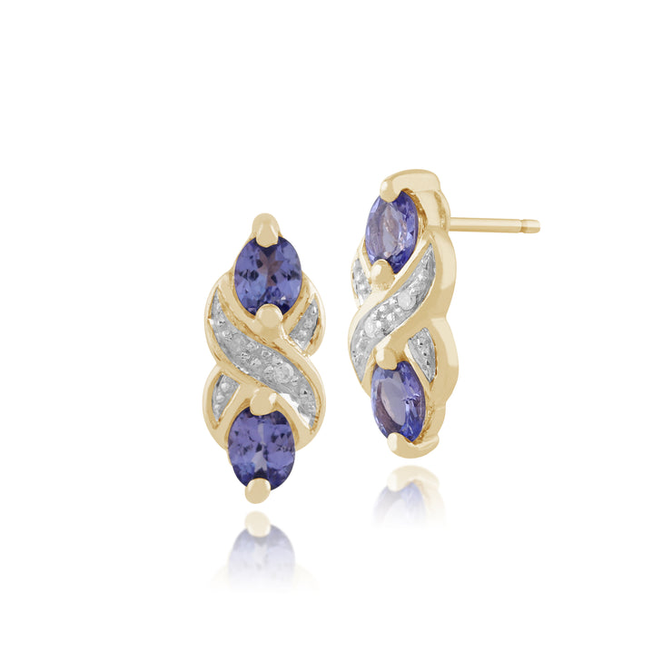 9ct Yellow Gold 0.66ct Tanzanite & Diamond Art Nouveau Drop Earrings Image