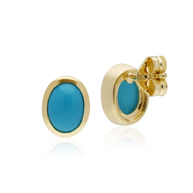 Classic Oval Turquoise Stud Earrings in 9ct Yellow Gold 7x6mm