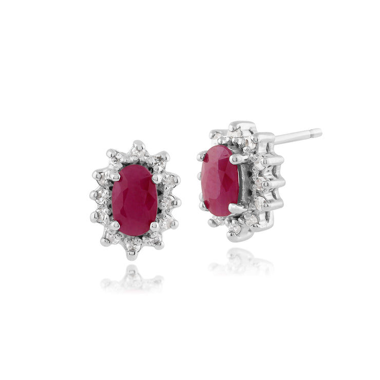 Classic Oval Ruby & Diamond Cluster Stud Earrings in 9ct White Gold 5x3mm