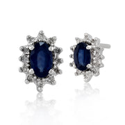 Classic Oval Light Blue Sapphire & Diamond Cluster Stud Earrings in 9ct White Gold
