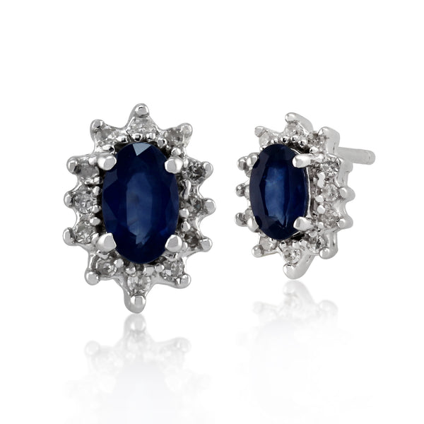Classic Oval Light Blue Sapphire & Diamond Cluster Stud Earrings in 9ct White Gold 5x3mm