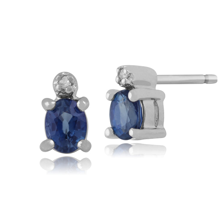 Classic Oval Light Blue Sapphire & Diamond Stud Earrings in 9ct White Gold