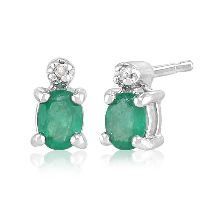 Classic Oval Emerald & Diamond Stud Earrings in 9ct White Gold