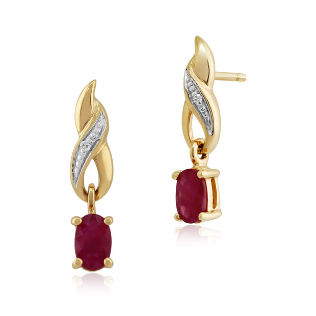 Art Nouveau Oval Ruby & Diamond Drop Earrings in 9ct Yellow Gold