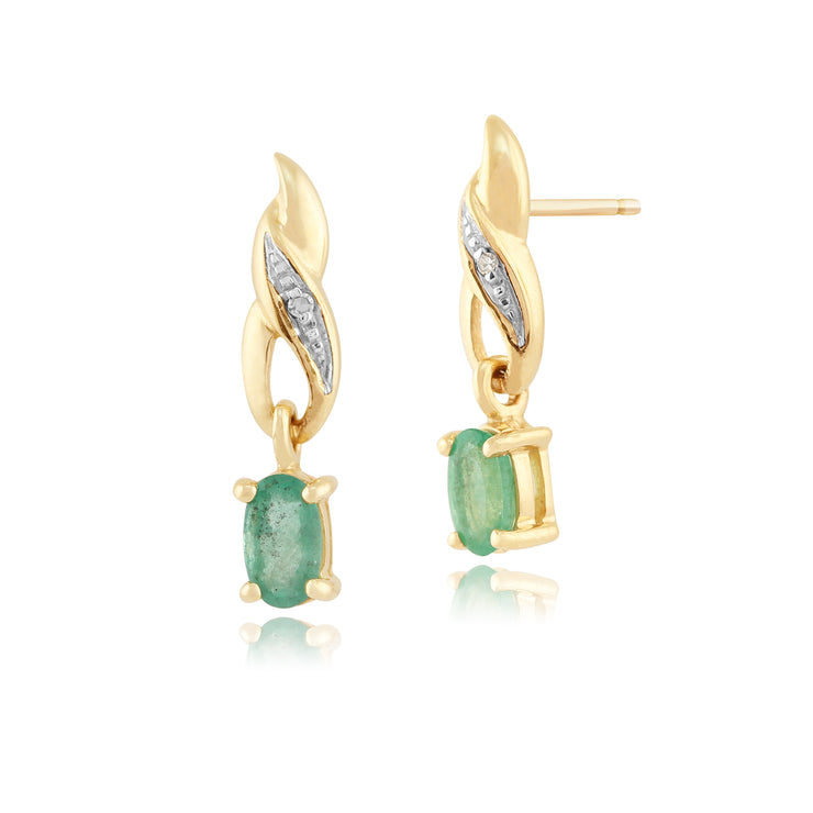 Art Nouveau Oval Emerald & Diamond Drop Earrings in 9ct Yellow Gold
