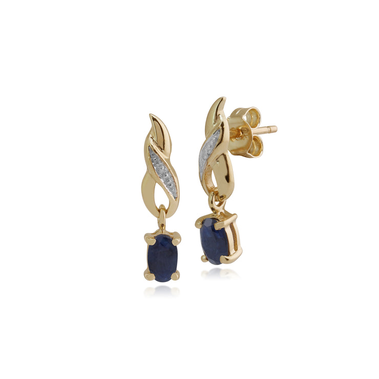 Art Nouveau Oval Sapphire & Diamond Drop Earrings in 9ct Yellow Gold