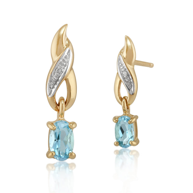 Classic Oval Blue Topaz & Diamond Twisted Drop Earrings in 9ct Yellow Gold