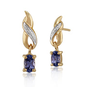 Classic Oval Tanzanite & Diamond Drop Earrings in 9ct Yellow Gold