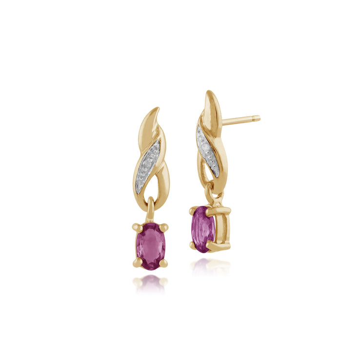 Classic Oval Pink Sapphire & Diamond Drop Earrings in 9ct Yellow Gold