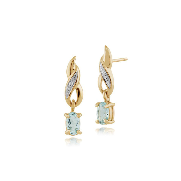 Classic Oval Aquamarine & Diamond Drop Earrings in 9ct Yellow Gold