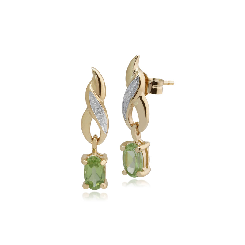 Classic Oval Peridot & Diamond Twist Drop Earrings in 9ct Yellow Gold