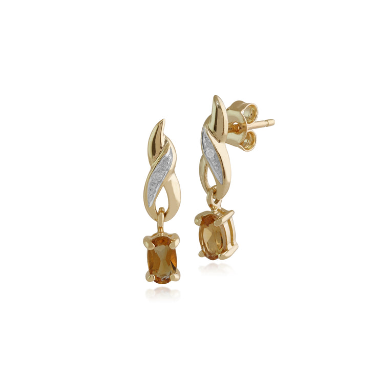 Classic Oval Citrine & Diamond Twist Drop Earrings in 9ct Yellow Gold