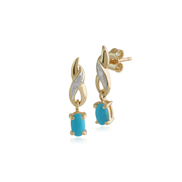 Classic Oval Turquoise & Diamond Twist Drop Earrings in 9ct Yellow Gold