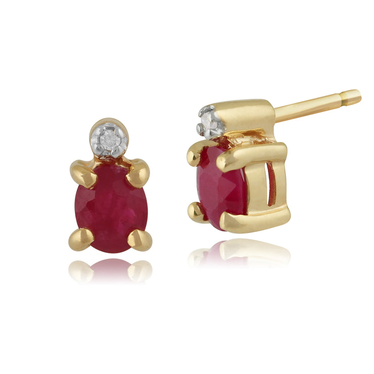 Classic Oval Ruby & Diamond Stud Earrings in 9ct Yellow Gold 3.5mm