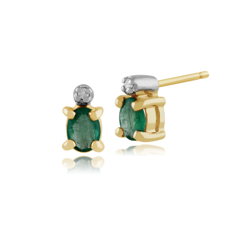 Classic Oval Emerald & Diamond Stud Earrings in 9ct Yellow Gold