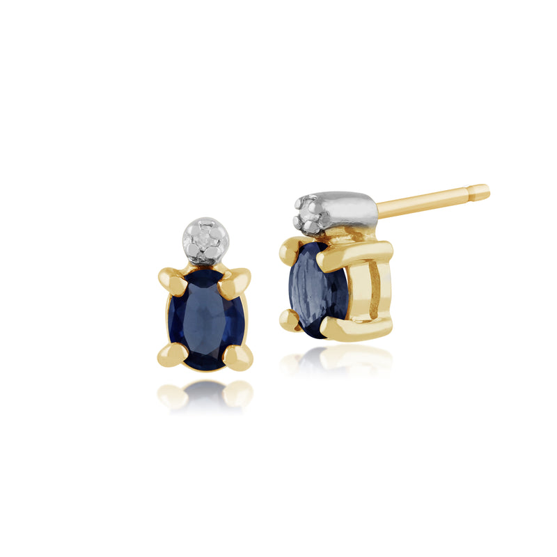 Classic Oval Light Blue Sapphire & Diamond Stud Earrings in 9ct Yellow Gold