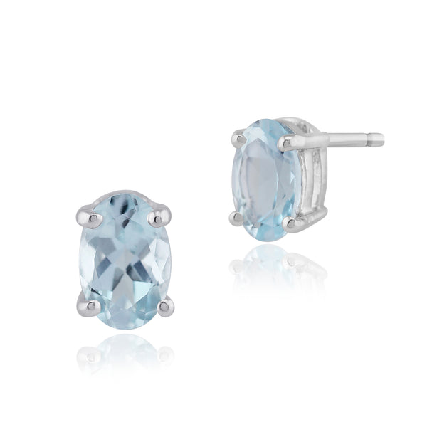 Classic Oval Aquamarine Stud Earrings in 9ct White Gold 6x4mm