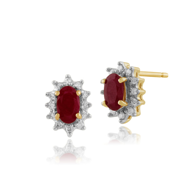 Classic Oval Ruby & Diamond Cluster Stud Earrings in 9ct Yellow Gold