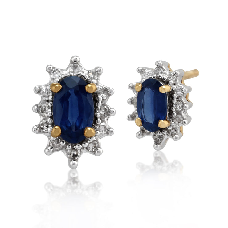 Classic Oval Light Blue Sapphire & Diamond Cluster Stud Earrings in 9ct Yellow Gold