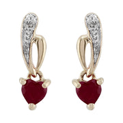 Art Nouveau Style Heart Ruby & Diamond Drop Earrings in 9ct Yellow Gold
