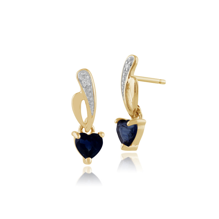 Classic Heart Light Blue Sapphire & Diamond Drop Earrings in 9ct Yellow Gold