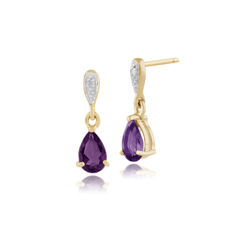 Classic Pear Amethyst & Diamond Drop Earrings in 9ct Yellow Gold