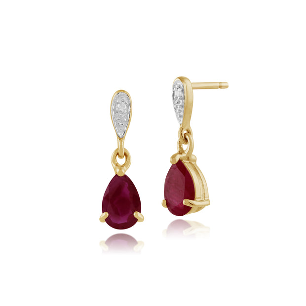 Classic Pear Ruby & Diamond Drop Earrings in 9ct Yellow Gold