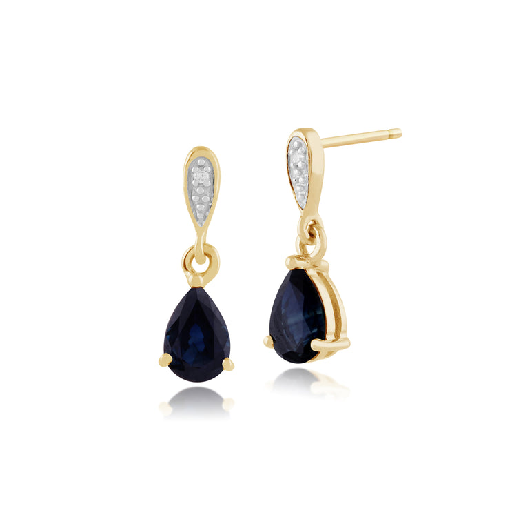 Classic Pear Sapphire & Diamond Drop Earrings in 9ct Yellow Gold