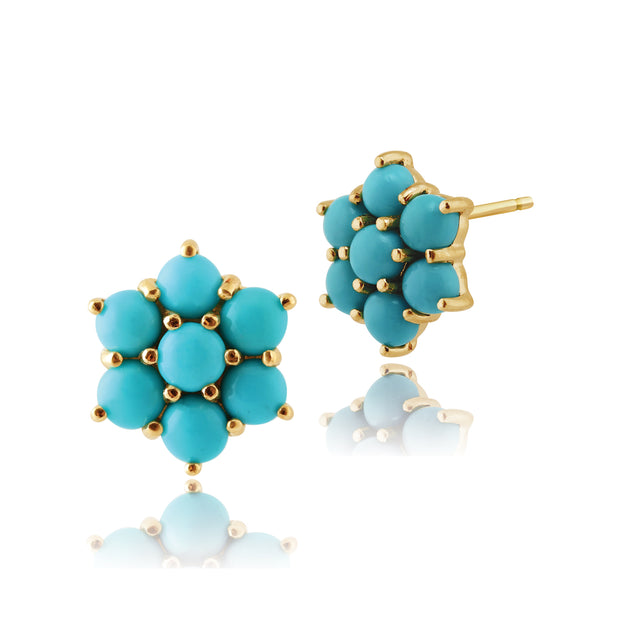 Floral Turquoise Cabochon Cluster Stud Earrings in 9ct Yellow Gold