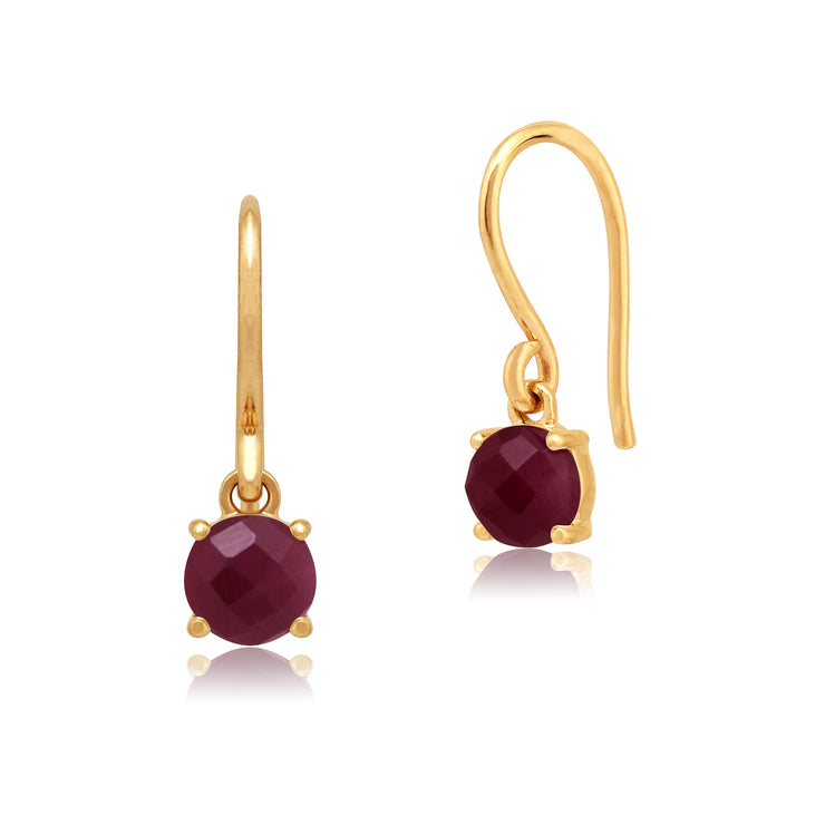 Classic Round Ruby Checkerboard Drop Earrings in 9ct Yellow Gold