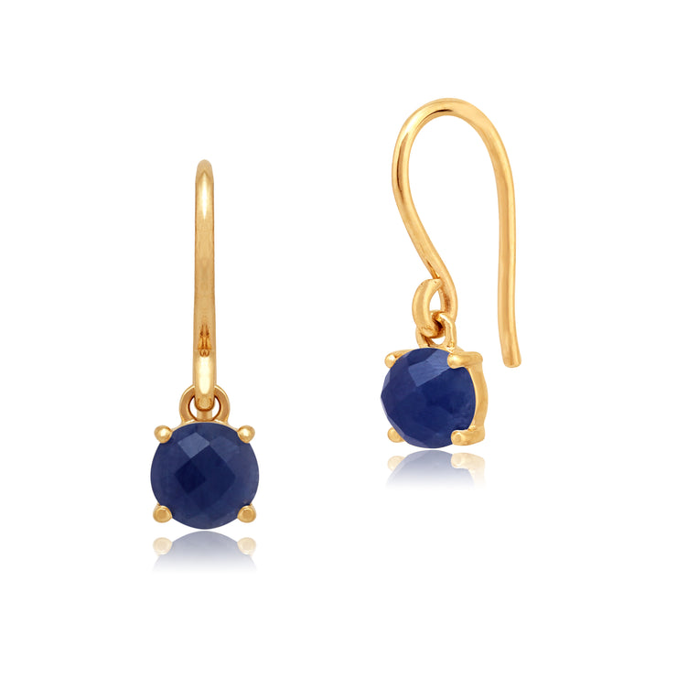 Classic Round Sapphire Checkerboard Drop Earrings in 9ct Yellow Gold
