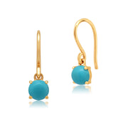 Classic Round Turquoise Cabochon Drop Earrings in 9ct Yellow Gold