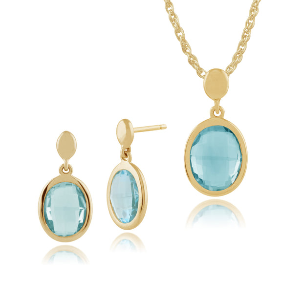 Classic Oval Blue Topaz Bezel Drop Earrings & Pendant Set Image 1