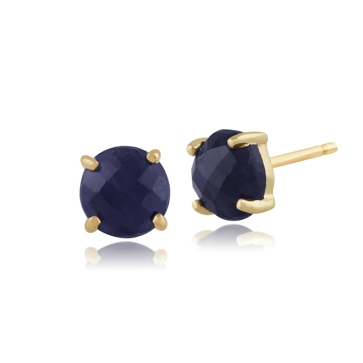 Classic Round Raw Sapphire Checkerboard Stud Earrings in 9ct Yellow