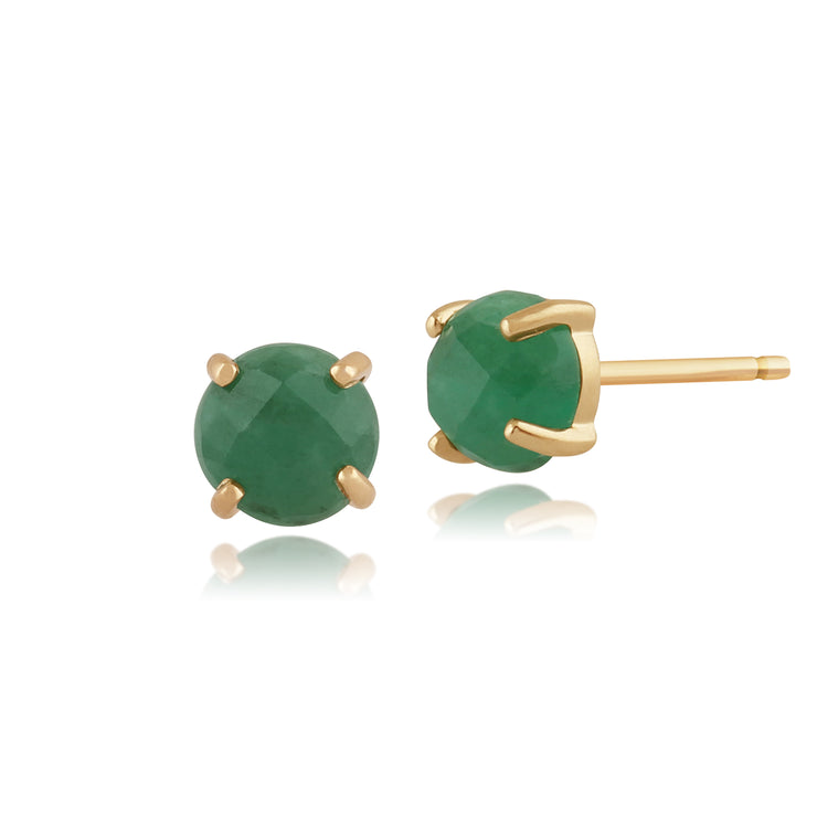 Classic Round Emerald Checkerboard Stud Earrings in 9ct Yellow Gold 5mm