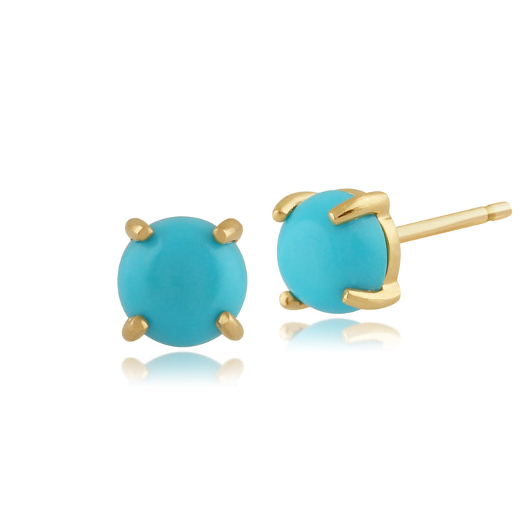Classic Round Turquoise Cabochon Stud Earrings in 9ct Yellow Gold