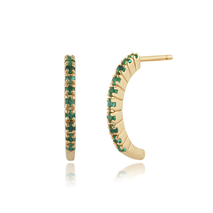 Classic Round Emerald Half Hoop Style Earrings in 9ct Yellow Gold