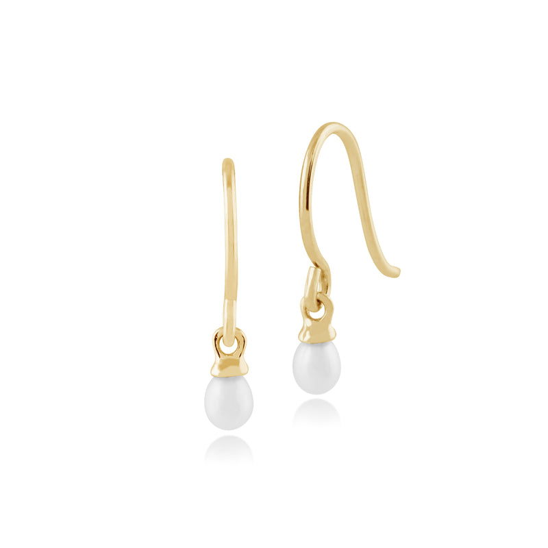 Classic Freshwater Pearl Drop Earrings in 9ct Yellow Gold