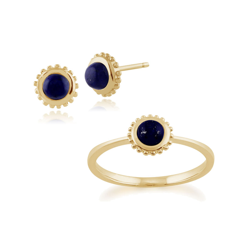 Classic Round Lapis Lazuli Single Stone Stud Earrings & Solitaire Ring Set in 9ct Yellow Gold