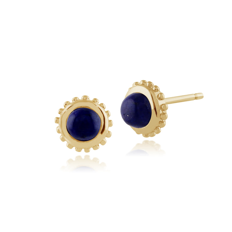 Classic Round Lapis Lazuli Stud Earrings in 9ct Yellow Gold 6mm