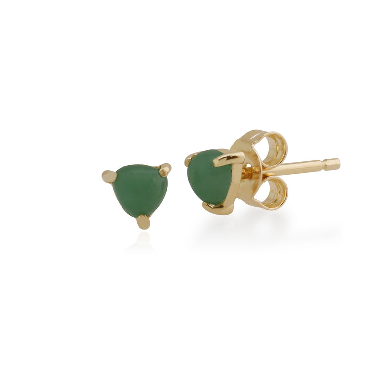 Classic Trillion Green Jade Three Claw Set Triangle Stud Earrings in 9ct Yellow Gold