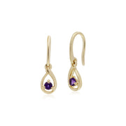 Classic Single Stone Round Amethyst Tear Drop Earrings in 9ct Yellow Gold