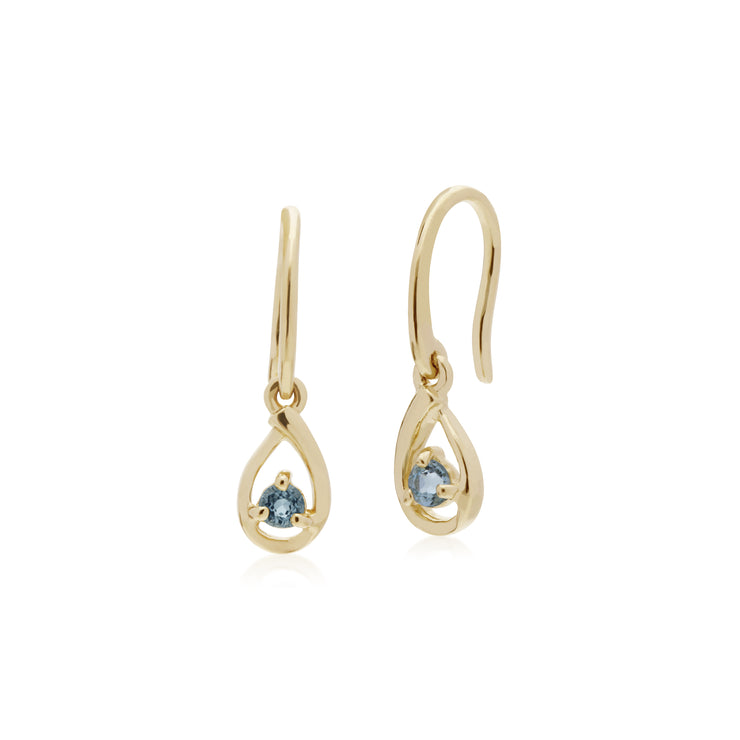 Classic Single Stone Round Aquamarine Tear Drop Earrings in 9ct Yellow Gold