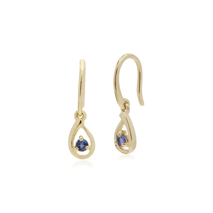 Classic Single Stone Round Tanzanite Tear Drop Earrings in 9ct Yellow Gold