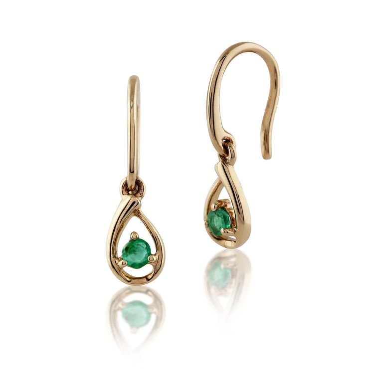 Classic Round Emerald Drop Earrings in 9ct Yellow Gold