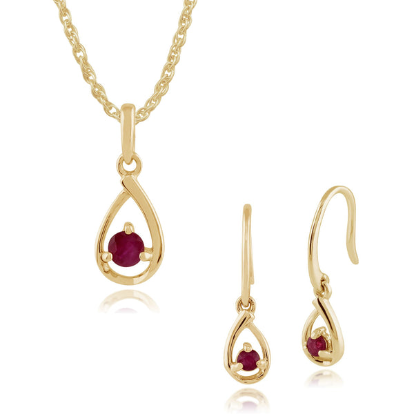 Classic Round Ruby Drop Earrings & Pendant Set Image 1