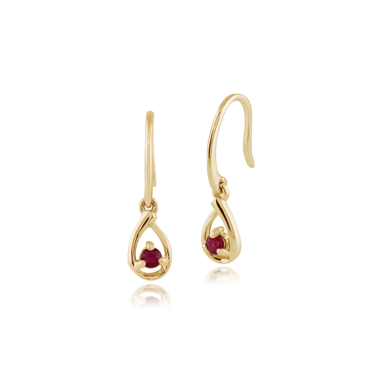 Classic Round Ruby Drop Earrings in 9ct Yellow Gold